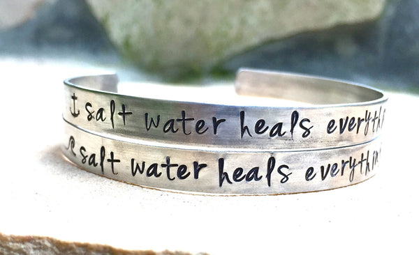 Salt Water Heals Everything Bracelet - Natashaaloha, jewelry, bracelets, necklace, keychains, fishing lures, gifts for men, charms, personalized,