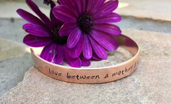Mother Daughter Bracelet, Mother Daughter Jewelry, The Love Between A Mother And Daughter Is Forever, Personalized Cuff, Hand Stamped Cuff - Natashaaloha, jewelry, bracelets, necklace, keychains, fishing lures, gifts for men, charms, personalized,