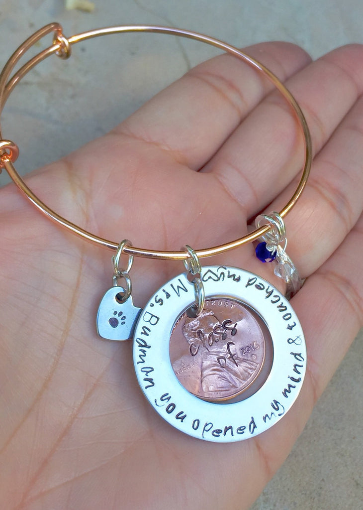 Bangle Teacher Gift - Natashaaloha, jewelry, bracelets, necklace, keychains, fishing lures, gifts for men, charms, personalized,