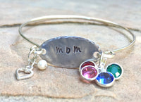 Mom Bangle, Mother's Day Gift, Mother Daughter Bracelet, Mother Children Bracelet, Hand Stamped - Natashaaloha, jewelry, bracelets, necklace, keychains, fishing lures, gifts for men, charms, personalized,