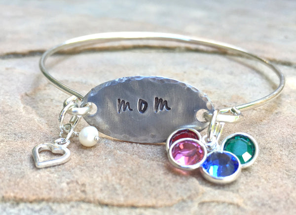 Mom Bangle, Mother's Day Gift, Mother Daughter Bracelet, Mother Children Bracelet, Hand Stamped