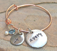 First Communion Gifts, Toddler Bangle, Personalized Toddler Bangle, Baptism Gifts For Kids, Baptism Bangle Bracelet, Hand Stamped Bangle - Natashaaloha, jewelry, bracelets, necklace, keychains, fishing lures, gifts for men, charms, personalized,