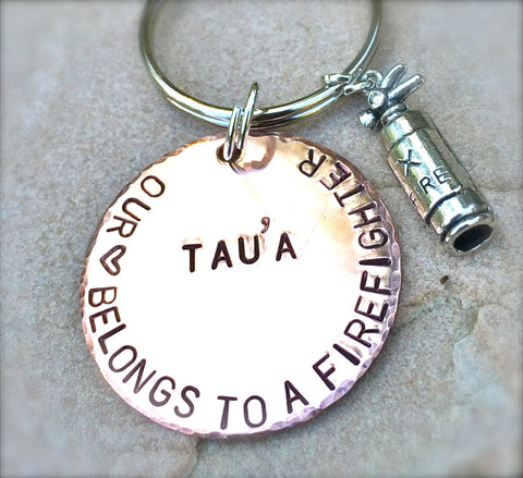 Custom Firefighter Keychain - Natashaaloha, jewelry, bracelets, necklace, keychains, fishing lures, gifts for men, charms, personalized,