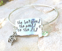 She Believed She Could So She Did, Bangle, Personalized Bangles, Graduation Gifts, RN Gifts, Graduation For Her, natashaaloha - Natashaaloha, jewelry, bracelets, necklace, keychains, fishing lures, gifts for men, charms, personalized,