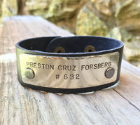 Personalized Motocross Leather Bracelet - Natashaaloha, jewelry, bracelets, necklace, keychains, fishing lures, gifts for men, charms, personalized,