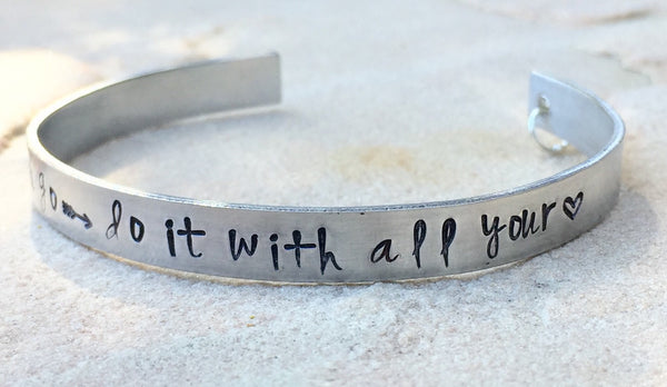 Graduation Gifts, Wherever you go do it with all your heart Bracelet - Natashaaloha, jewelry, bracelets, necklace, keychains, fishing lures, gifts for men, charms, personalized,