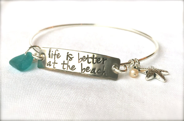 Life Is Better At The Beach Bracelet, Beach Jewelry, Natashaaloha - Natashaaloha, jewelry, bracelets, necklace, keychains, fishing lures, gifts for men, charms, personalized,