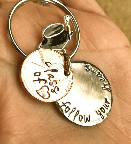 Graduation Gifts, Personalized Penny Keychain, Grad Gifts, Penny Keychains, Gradaution 2016, Follow Your Dreams, Do What You Love - Natashaaloha, jewelry, bracelets, necklace, keychains, fishing lures, gifts for men, charms, personalized,