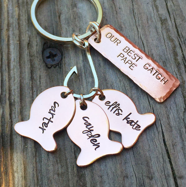 Fishing Keychain, Our Best Pape, Fishing Gifts, Personalized Fishing Keychain, Our Best Catch Dad,  natashaaloha - Natashaaloha, jewelry, bracelets, necklace, keychains, fishing lures, gifts for men, charms, personalized,