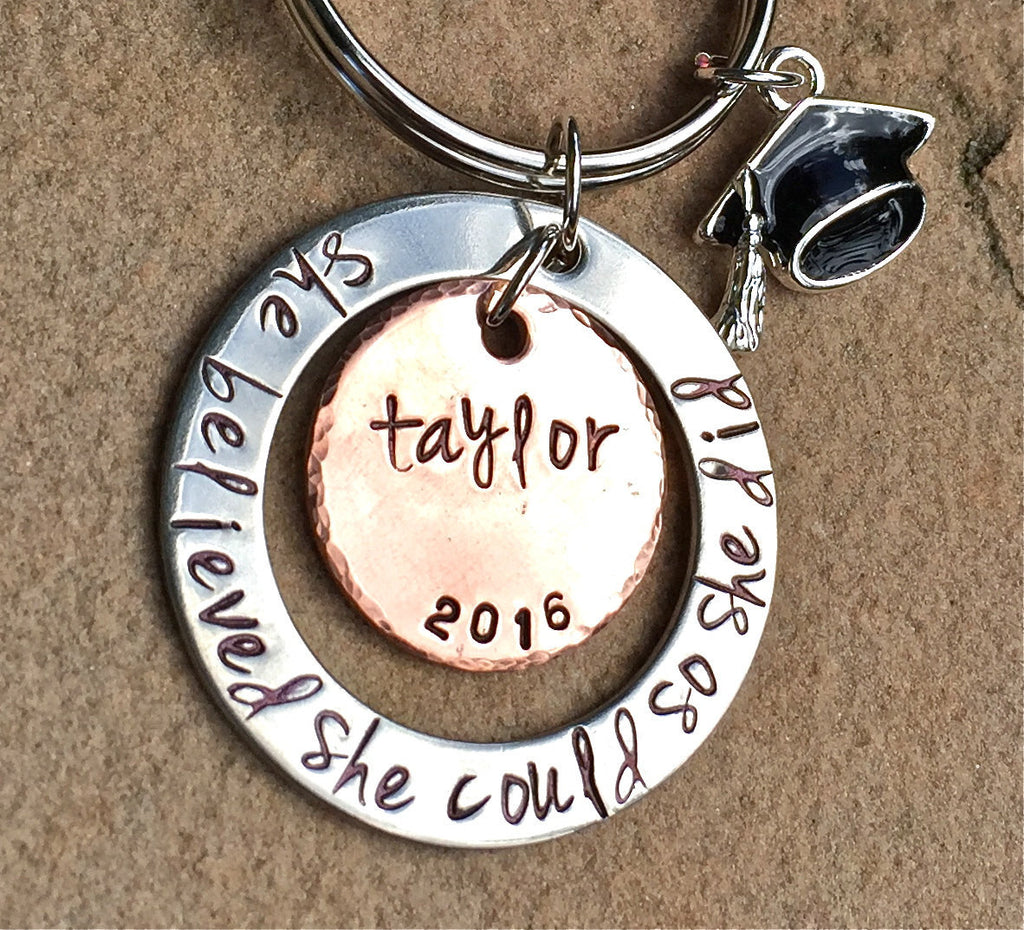 She Believed She Could So She Did, Graduation Gifts 2016 - Natashaaloha, jewelry, bracelets, necklace, keychains, fishing lures, gifts for men, charms, personalized,
