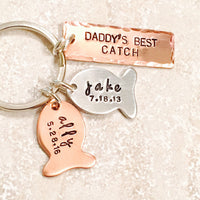 Hooked On Dad,Fishing Keychain, Our Best Catch Dad, Fish Keychain, Boyfriend Gift, Fishing, natashaaloha - Natashaaloha, jewelry, bracelets, necklace, keychains, fishing lures, gifts for men, charms, personalized,
