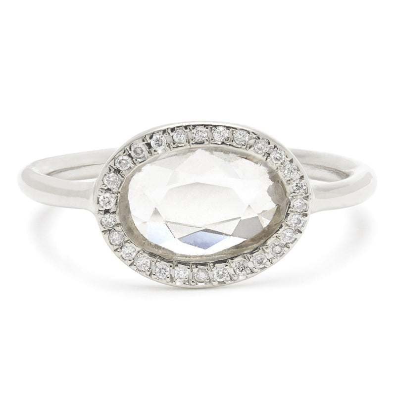 Juliet Oval Ring in White Gold