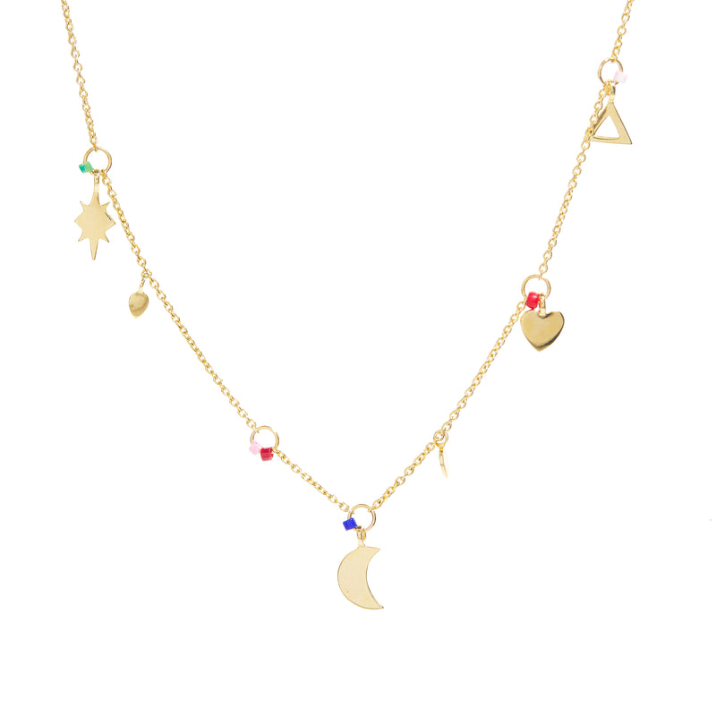 Mixed Charms Necklace In Gold Vermeil