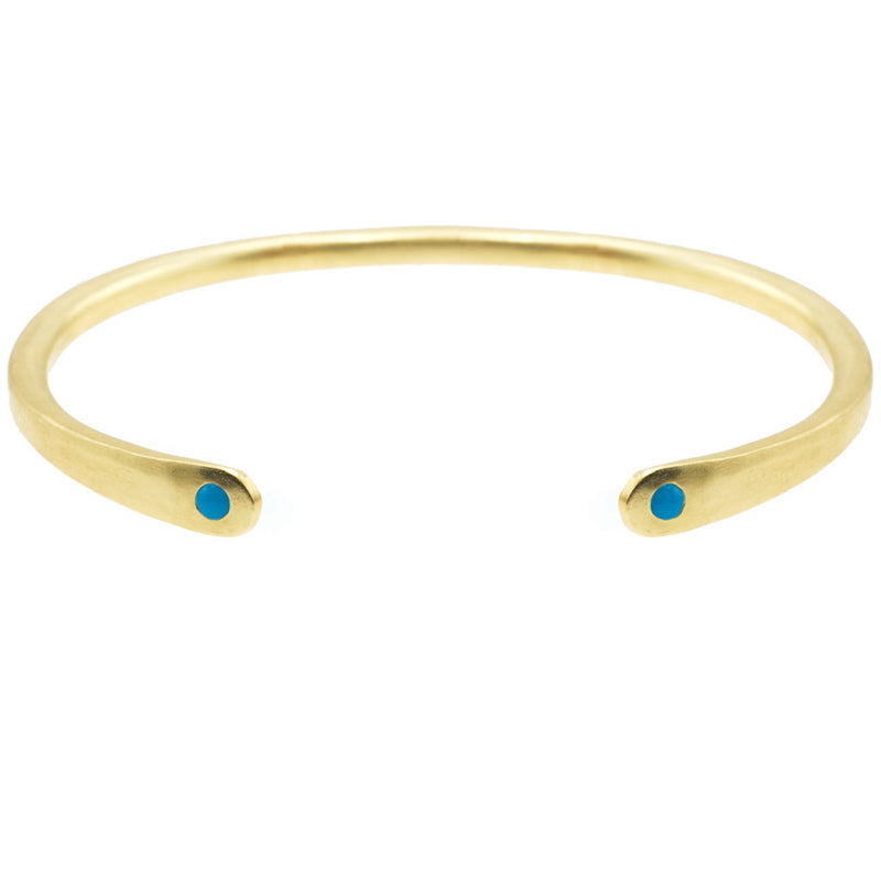Open Baby Cuff: Turquoise in Gold