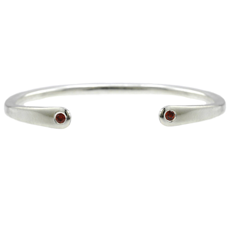 Open Baby Cuff: Garnet with Silver