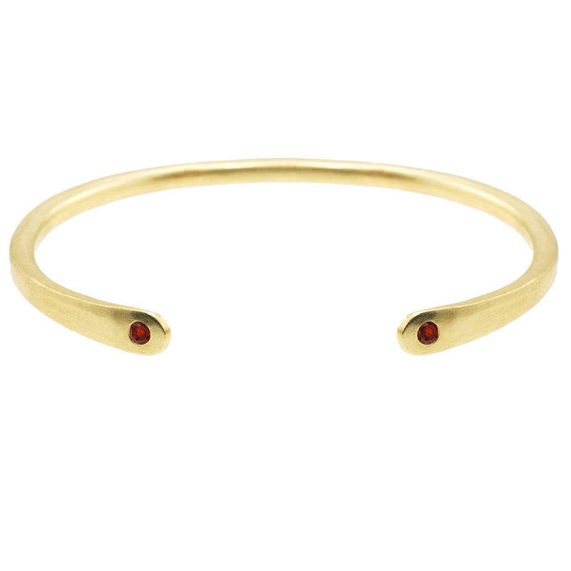 Open Baby Cuff: Garnet in Gold