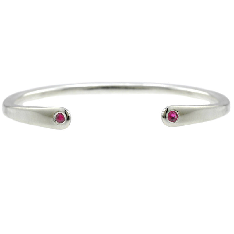 Open Baby Cuff: Ruby in Silver