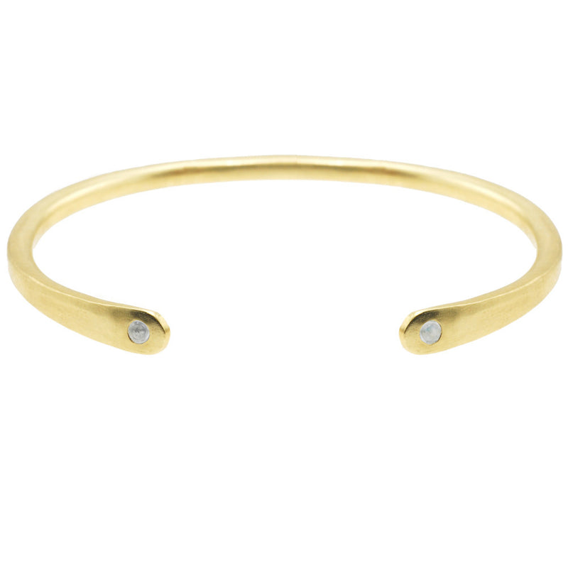 Open Baby Cuff: Moonstone in Gold