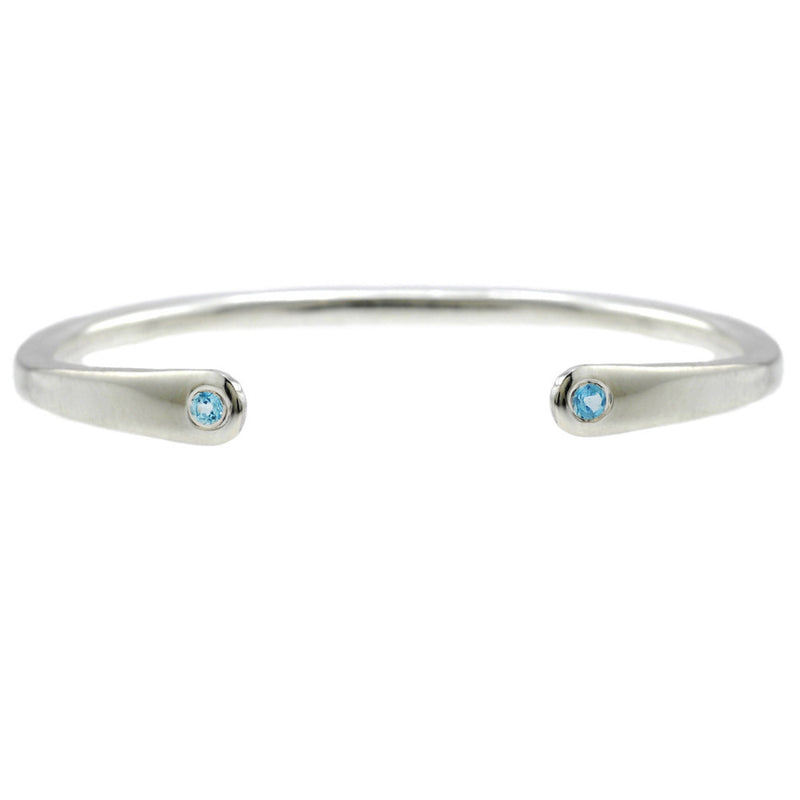 Open Baby Cuff: Aquamarine in Silver