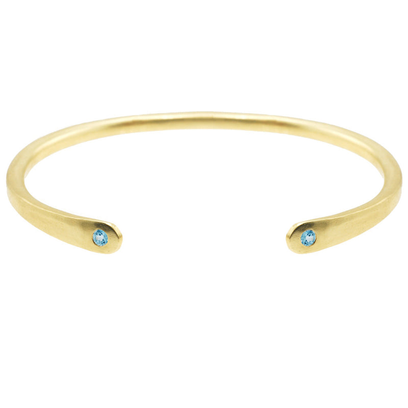 Open Baby Cuff: Aquamarine in Gold