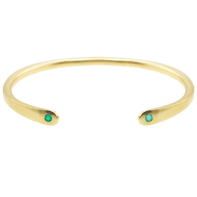 Open Baby Cuff: Emerald in Gold
