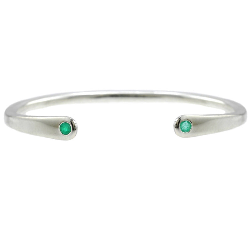 Open Baby Cuff: Emerald in Silver