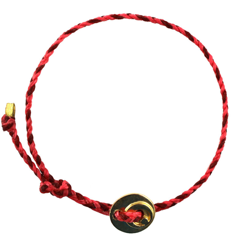 Circle of Health Bracelet in Brass and Red/Hot Pink