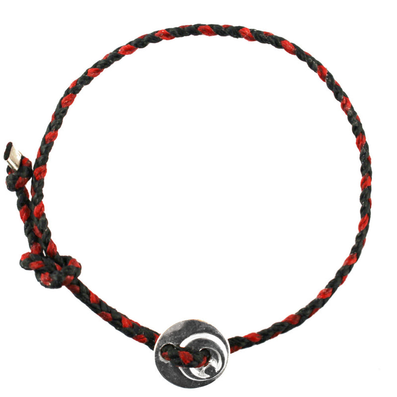 Circle of Health Bracelet in Silver and Black/Red
