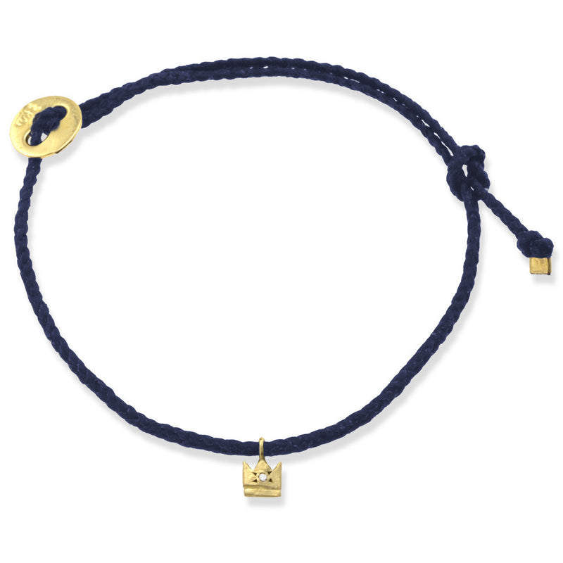 Crown Bracelet in Gold and Indigo