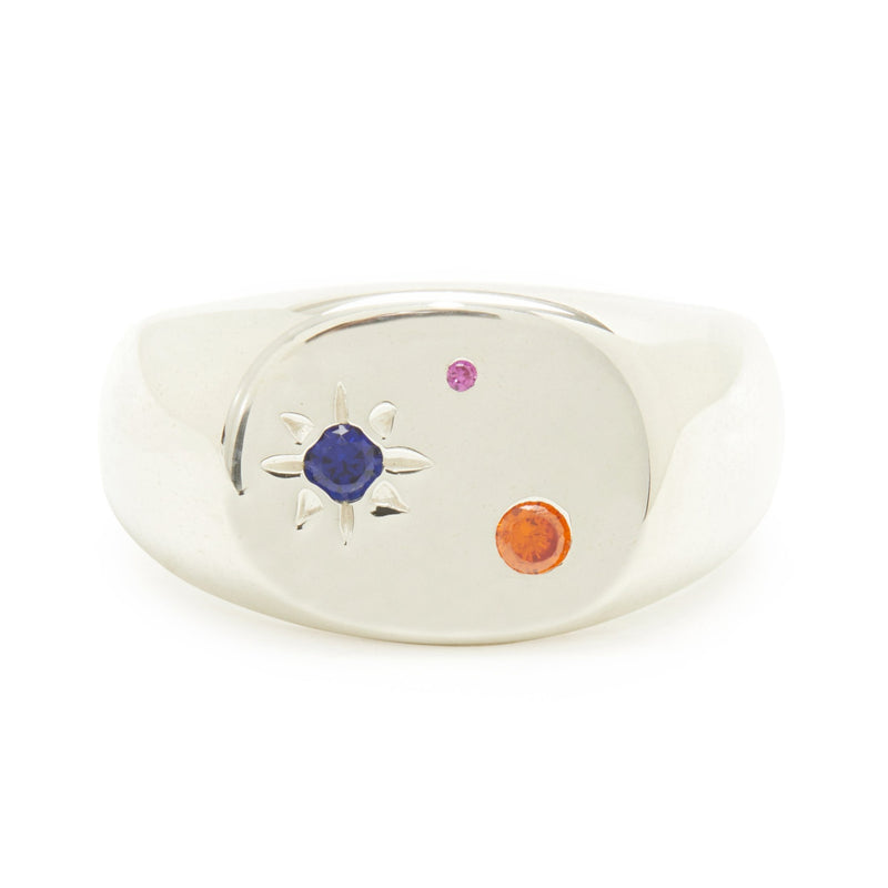 Seal Signet Ring in Silver with Mixed Stones