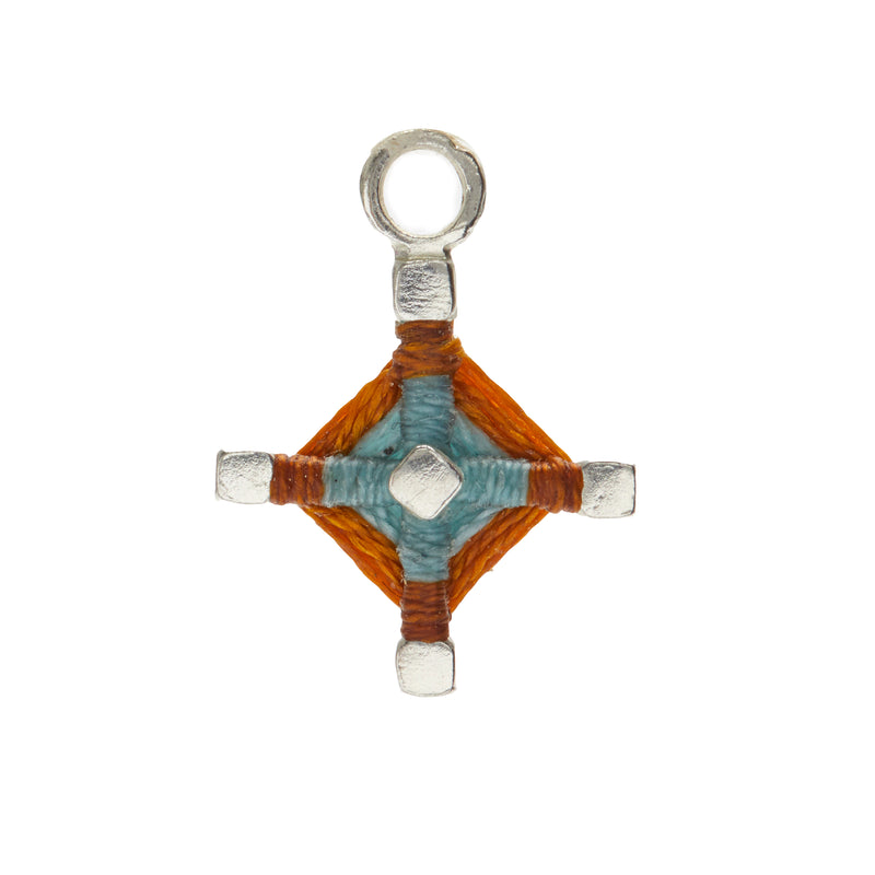 God's Eye Earring Charm in Light Blue and Rust
