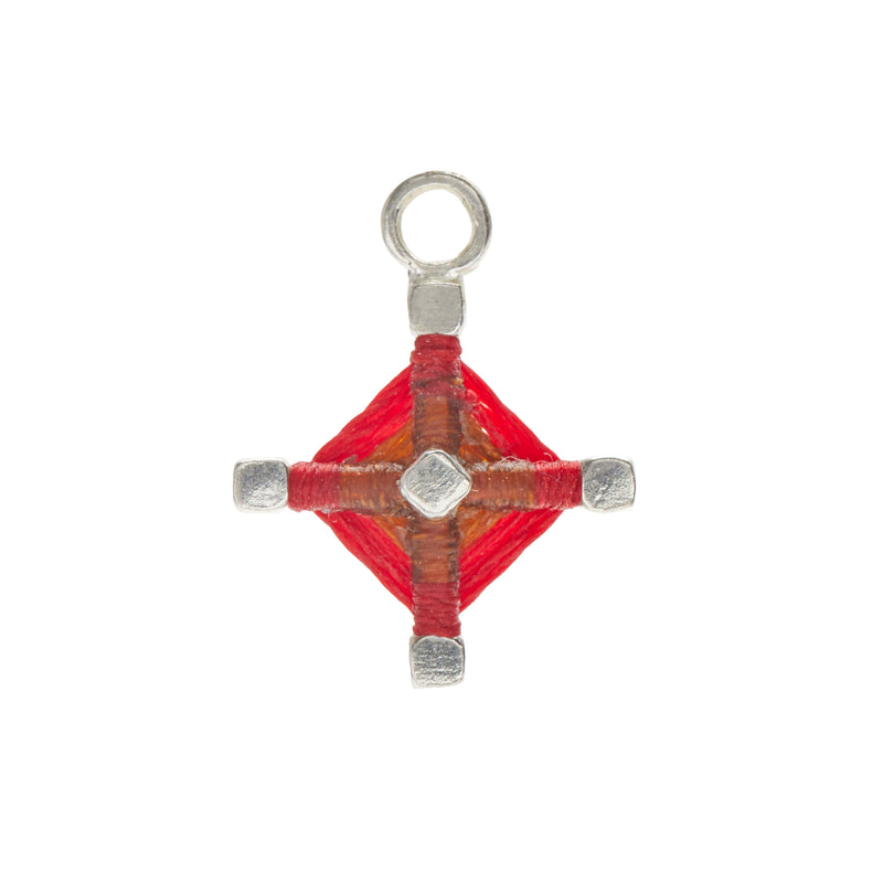 God's Eye Earring Charm in Rust and Scarlet