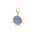 Diamond Hoop and Opal Sunset Charm with Rubies