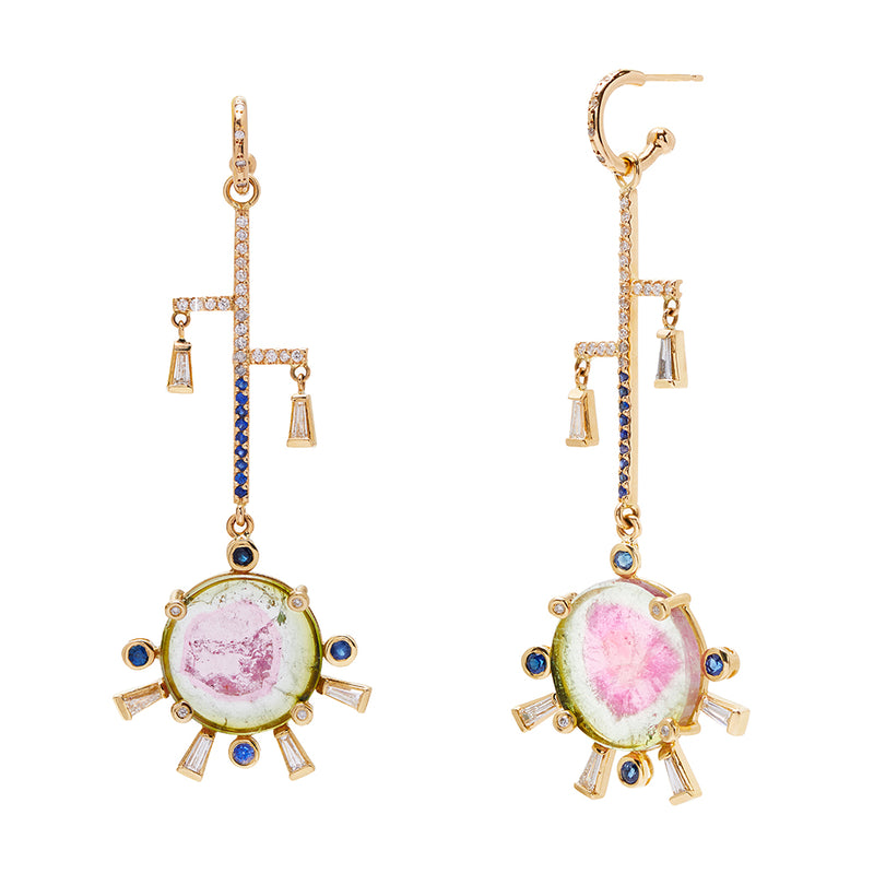 Diamond Hoops and Tourmaline Sunset Charms