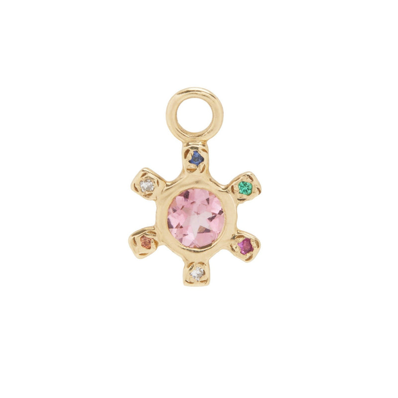 Pinwheel Charm with Pink Sapphire and Mixed Stones