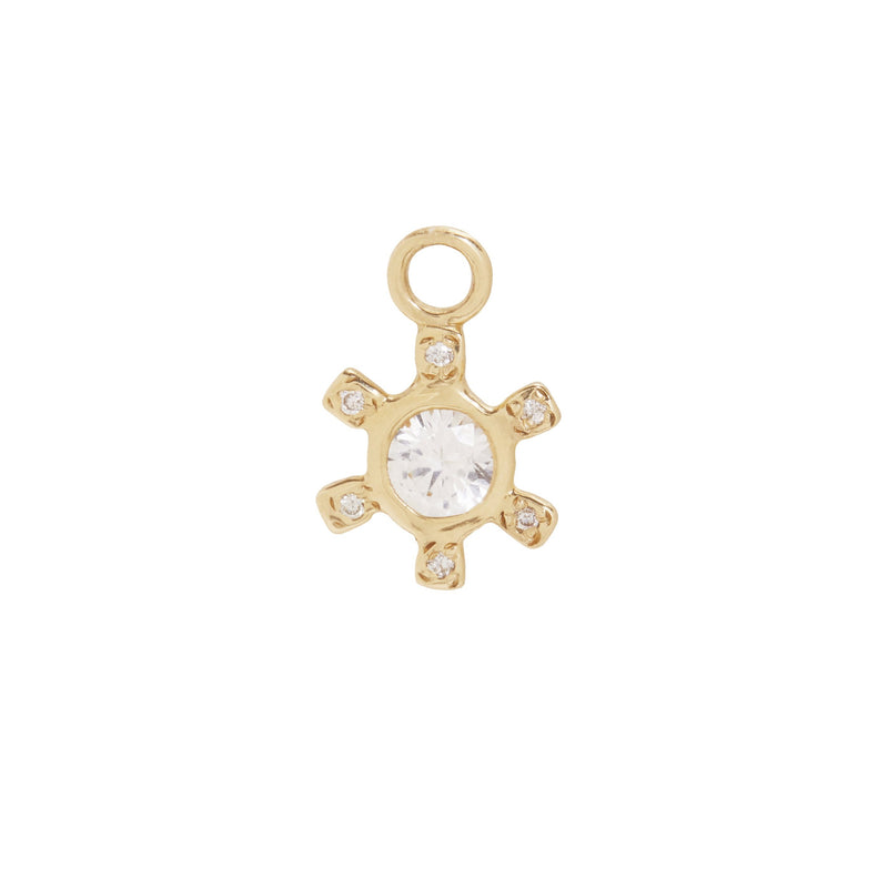 Pinwheel Charm with White Sapphire and Diamonds