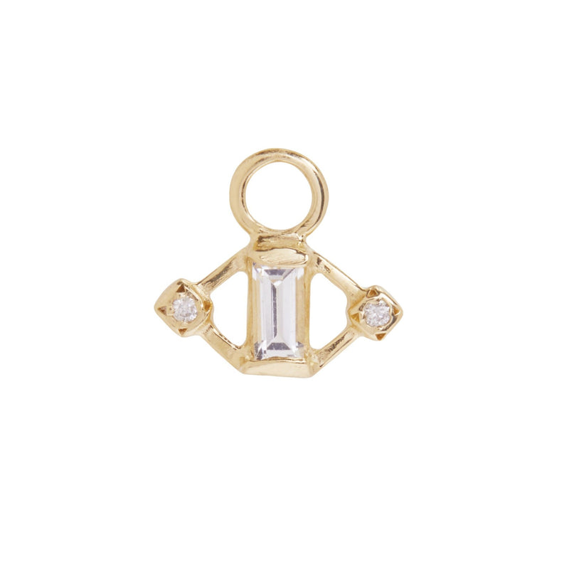 Kite Charm with White Sapphire and Diamonds