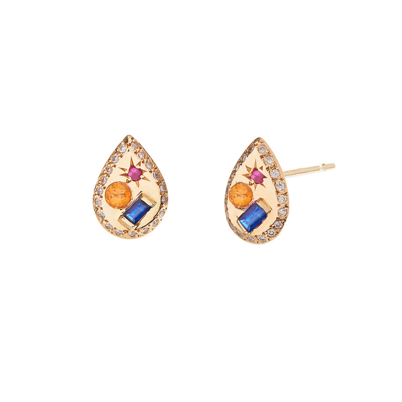 Pear Studs with Sapphire