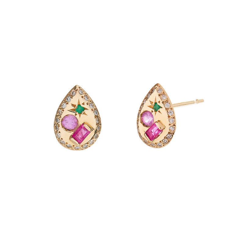 Pear Studs with Ruby