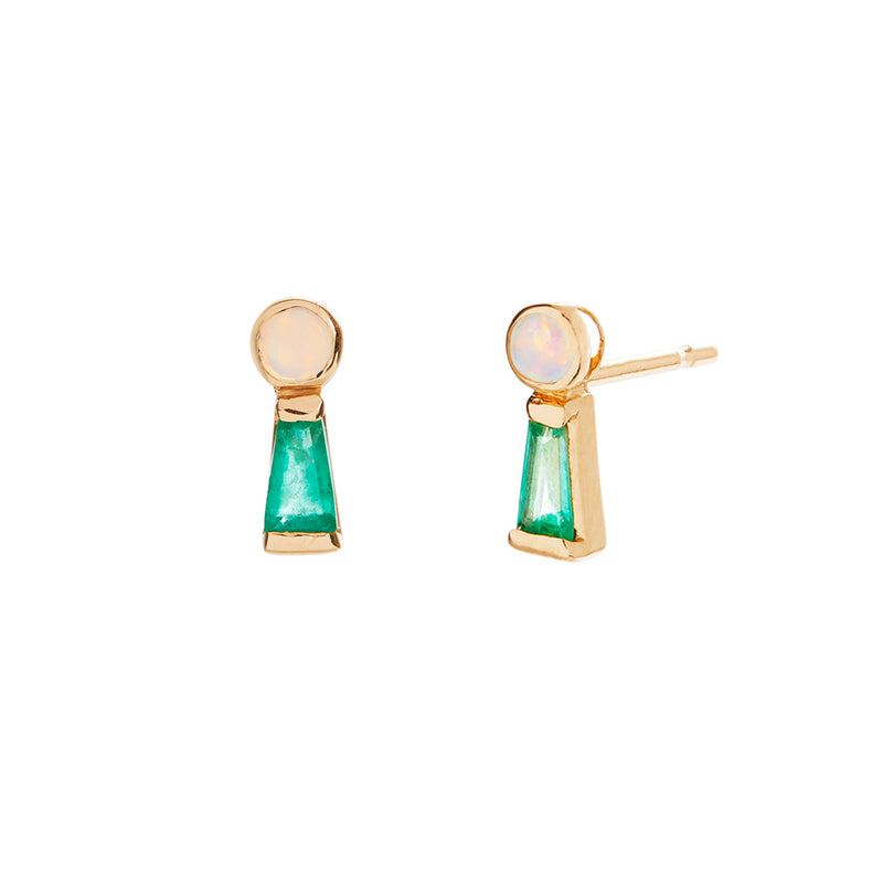 Key Hole Studs with Opal