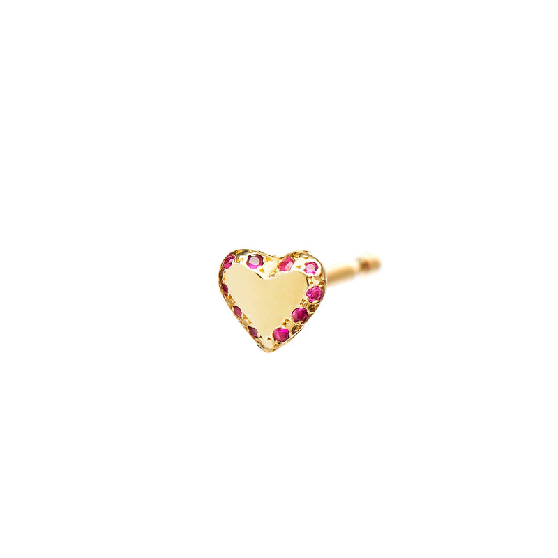 Pavé Heart Studs with Rubies