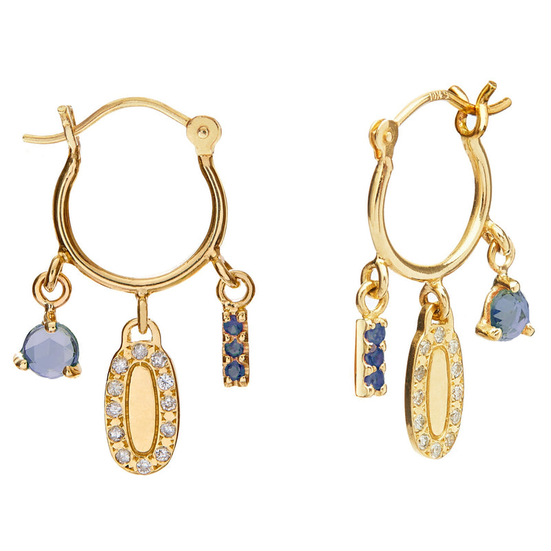 Diamond and Blue Sapphire Charm Hoops