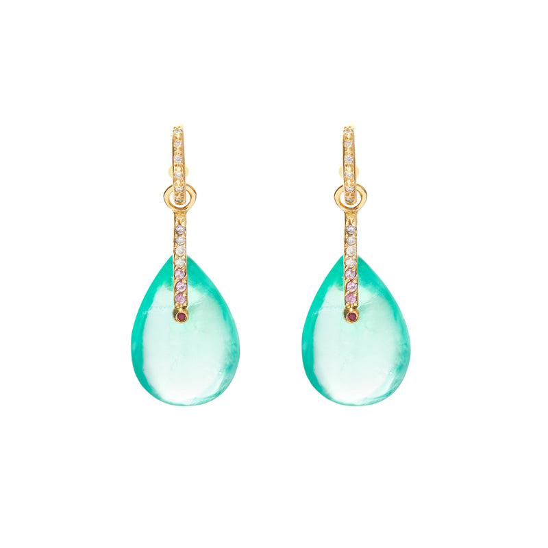 Fluorite Drops on Diamond Hoops