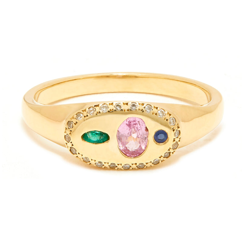 Mini Nandi Ring with Pink Sapphire