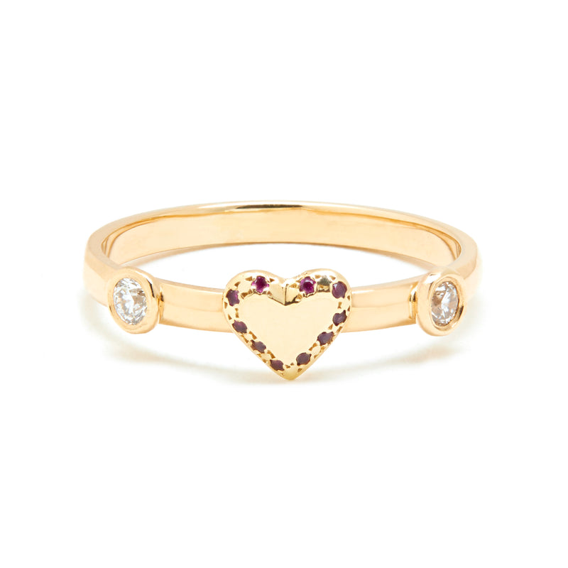 Diamond and Ruby Heart Ring