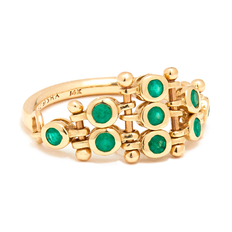 Diadem Ring with Emeralds
