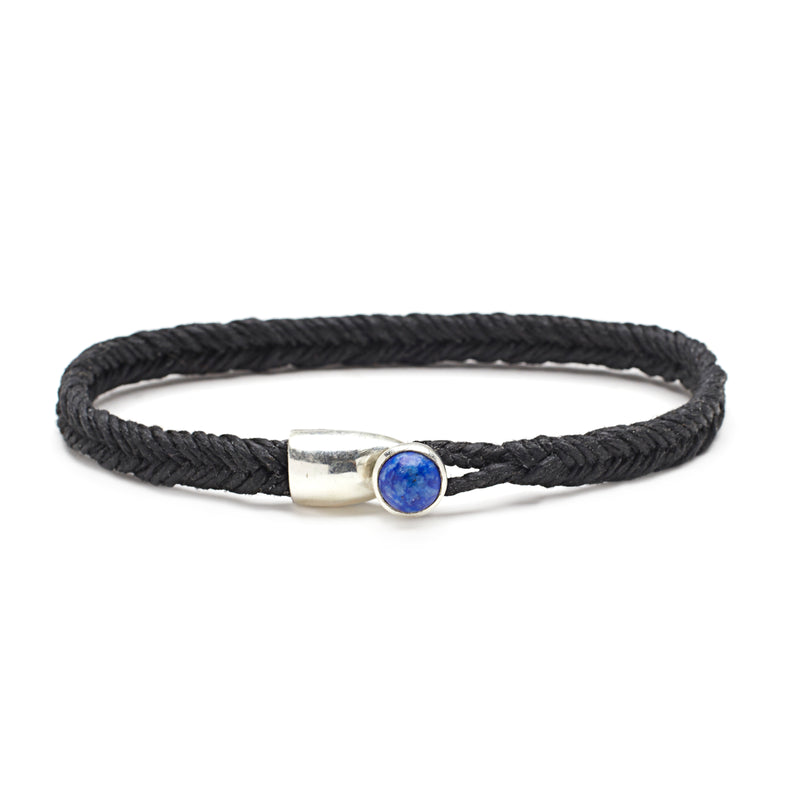 Scosha Fishtail Lapis Button Bracelet in Silver and Black