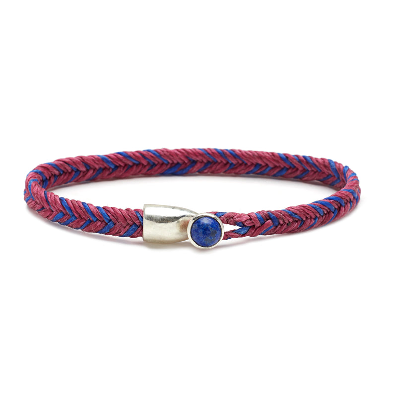 Scosha Fishtail Lapis Button Bracelet in Silver with Berry and Royal Fleck