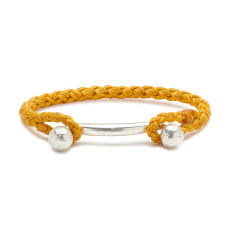 Silver Double Ball Bar with Rope Cuff in Mimosa