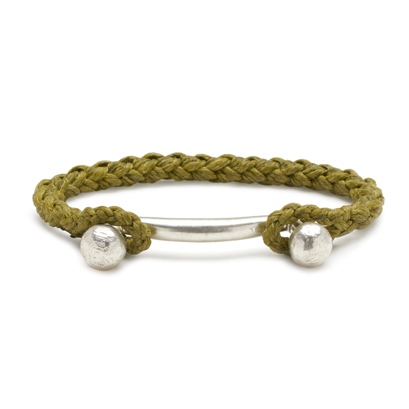 Silver Double Ball Bar with Rope Cuff in Olive